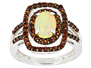 Multicolor Ethiopian Opal Sterling Silver Ring 1.10ctw