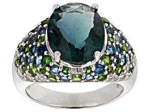 Teal Fluorite, Blue Topaz, Chrome Diopside And White Zircon Sterling Silver Ring 7.78ctw