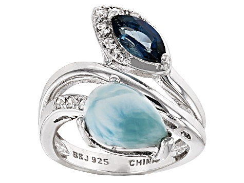 Blue Larimar Sterling Silver Ring .77ctw
