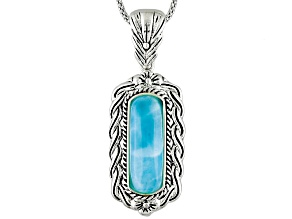Blue Larimar Sterling Silver Pendant With Chain.