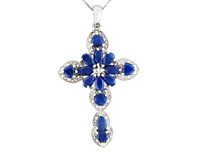 Blue Sapphire Rhodium Over Sterling Silver Cross Pendant With Chain 5.23ctw