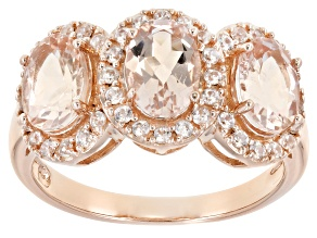 Pink morganite 18k rose gold over silver ring 2.10ctw