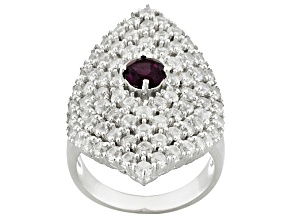 Purple Rhodolite And White Zircon Sterling Silver Ring 4.48ctw