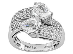 White Danburite Sterling Silver Ring 3.01ctw