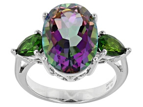 Green Mystic Quartz® Sterling Silver Ring 5.67ctw