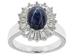 Blue Star Sapphire Sterling Silver Ring 4.20ctw