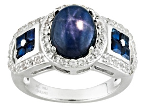 Blue Star Sapphire, Blue Sapphire And White Zircon Sterling Silver Ring 3.74ctw