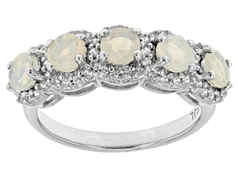 Ethiopian Opal Sterling Silver 5-Stone Ring 1.17ctw