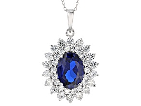 Blue Spinel Sterling Silver Pendant With Chain 9.20ctw