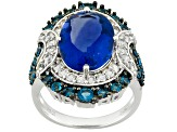 Blue, Color Change Fluorite Sterling Silver Ring 8.41ctw.