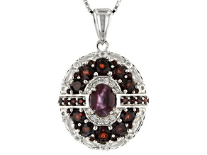 Red Star Garnet Sterling Silver Pendant With Chain 4.90ctw