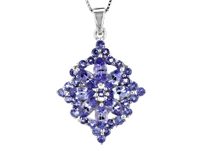 Blue Tanzanite Rhodium Over Sterling Silver Pendant With Chain 3.11ctw