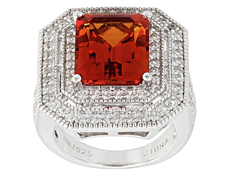 Orange Lab Created Padparadscha Sapphire Sterling Silver Ring 6.03ctw