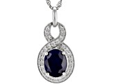 Blue Sapphire Sterling Silver Pendant With Chain 3.88ctw