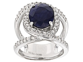 Blue Sapphire Rhodium Over Sterling Silver Ring 4.26ctw
