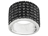 Black Spinel Sterling Silver Band Ring 4.32ctw