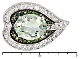 Green Brazilian Prasiolite Sterling Silver Ring 2.84ctw