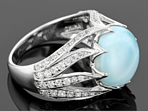 Blue Larimar Sterling Silver Ring .91ctw