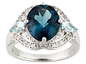 London Blue Topaz Sterling Silver Ring 4.28ctw