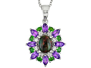 Black Ethiopian Opal Sterling Silver Pendant With Chain 2.49ctw
