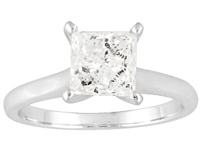 Diamond 2.00ct Princess Cut, 14k White Gold Solitaire Ring.