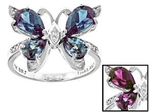 Color Change Lab Created Alexandrite 10k White Gold Ring 2.53ctw