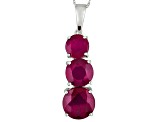 Mahaleo Ruby 10k White Gold Pendant With Chain 5.57ctw
