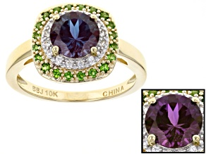 Color Change Lab Created Alexandrite 10k Yellow Gold Ring 1.60ctw