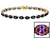 Color Change lab created Alexandrite 10k Yellow Gold Tennis Bracelet 10.20ctw