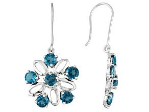 London Blue Topaz 10k White Gold Earrings 3.00ctw