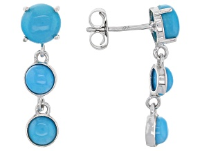 Blue Sleeping Beauty Turquoise 10k White Gold Earrings