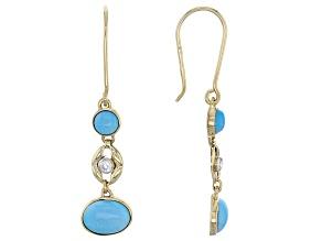 Blue Sleeping Beauty Turquoise 10k Yellow Gold Earrings .10ctw