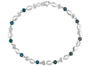 London Blue Topaz 10k White Gold Bracelet 1.85ctw