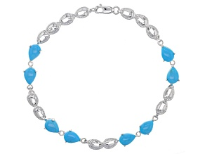 Blue Sleeping Beauty Turquoise 10k White Gold Bracelet