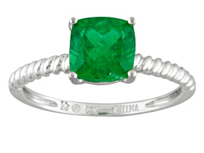 Green Apatite 10k White Gold Ring 1.60ct