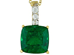 Green Apatite 10k Yellow Gold Pendant With Chain 1.66ctw