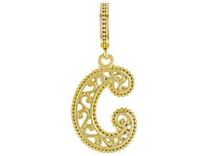 """18k Yellow Gold Over Silver Initial """"C"""" Charm"""