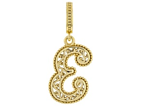 """18k Yellow Gold Over Silver Initial  """"E"""" Charm"""
