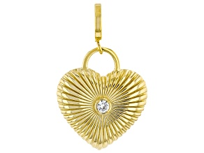 White Zircon 18k Yellow Gold Over Silver Heart Charm 1.00ct