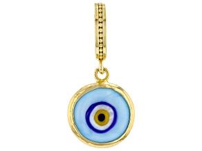 Glass 18k Gold Over Silver Evil Eye Charm