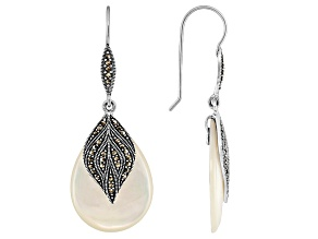Womens Dangle Earrings Mother-Of-Pearl Marcasite Sterling Silver