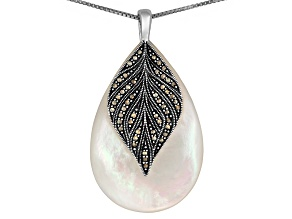 Womens Teardrop Necklace Mother Of Pearl With Marcasite Sterling Silver