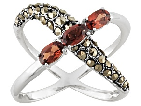 Red Garnet Sterling Silver Crossover Ring .70ctw