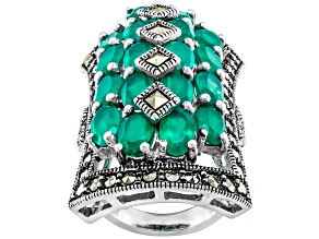 Green Onyx Sterling Silver Ring 6.84ctw