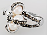 White Cultured Freshwater Pearl Silver Ring