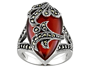 Red Agate Marcasite Sterling Silver Ring