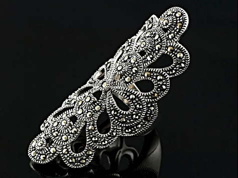 Metalic Marcasite Sterling Silver Ring