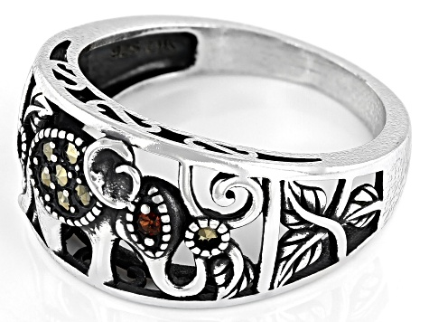 Red Garnet Sterling Silver Elephant Ring .01ct