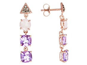 Purple Amethyst 18k Rose Gold Over Silver Dangle Earrings 4.72ctw
