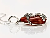 Red Agate Sterling Silver Enhancer With Chain